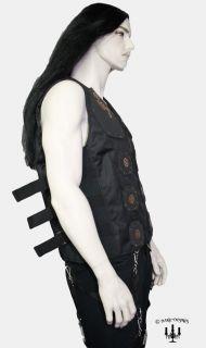 Steampunk Gothic Herren Weste schwarz Schnallen S M L XL Zahnräder