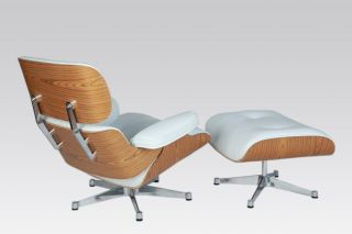 Apex Italian White Leather Lounge Chair and Ottoman in Charles Eames
