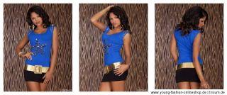 10768 Glamour Top Shirt Stern Ketten 36/38 Schwarz Grau Gelb Braun