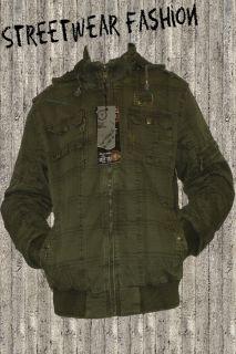 Top Style Herren Kapuzen Übergangsjacke Army Color XXL