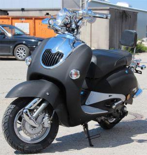 Retroroller 50ccm Motorroller Schwarz Matt Retro Lintex R05 Mofa