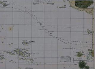 Antiquarische alte Landkarte SÜDSEE Pazifik Tahiti HAWAII Nuka Hiwa
