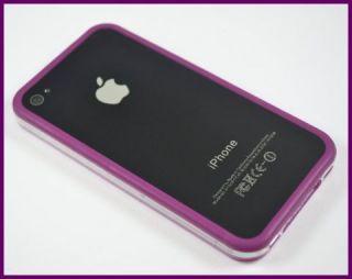 Bumper Schutz Tasche Für Apple iPhone 4 4G 4 S Lila   Transparent