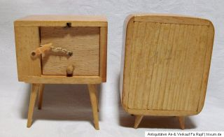 Konvolut Fernseher Radio aus Holz für Puppenstube um 1950 original