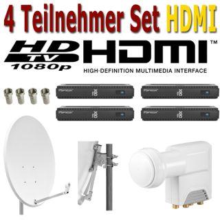 Digitale 80cm Sat Anlage 4 Teilnehmer 4 x HDMI Receiver + HD LNB + 8