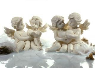 Engel Figur Statue Skulptur zwei Engel mit Herz sitzend Poly B 14cm