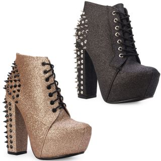 Public Desire   New Ladies Glitter Studded Spiked Block Heel Womens