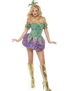 Kostüm Verkleidung Harlekin Gaukler Clown Damen Erwachsene mit Hut 36