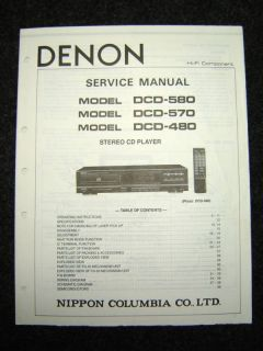 Original Denon DCD 580/570/480 Service Manual