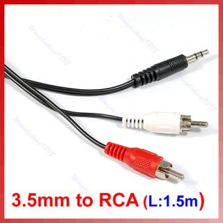 5mm Jack To 2 RCA Audio Adapter Cable For Ipod