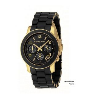 NEW 2012 MICHAEL KORS BLACK PU SILICONE CHRONO GOLD MK5191 WOMENS