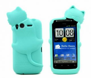 Blue New kiki Cat Cute Silicone Back Cover Case for HTC Desire S 2 G12