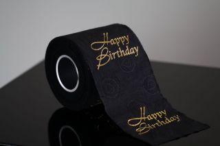Exclusives Toilettenpapier schwarz  Prägung Happy Birthday in