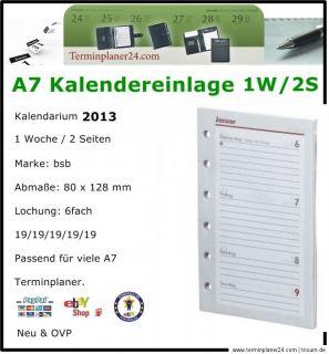 A7 bsb Pocket Kalendarium 2013   Kalender Einlage 1W/2S 1T/1S für