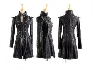 Visual Kei Punk Rave Rock Gothic Leder Schwarz Jacket Coat Jacke