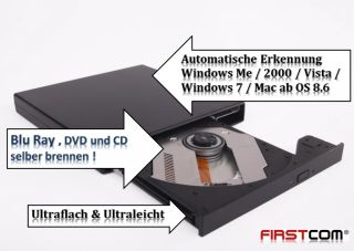 Blu Ray BD Brenner Slim USB Notebook Laufwerk Extern   BluRay/DVD/CD