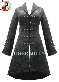 Mantel Damen H&R London Goth Tailliert Brokat Jacke Schwarz Gothic