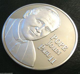 Pope John Paul II Silver Coin Catholic Christianity Vatican City Lucky