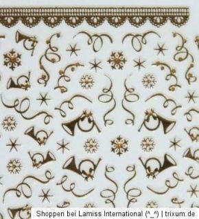 Nail Art Sticker christmas Weihnachten selbstklebende Sylvester gold