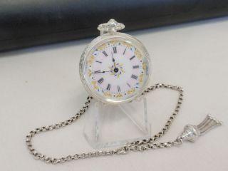 tolle antike Taschenuhr in 0 935 Silber Kette serviced pocket watch