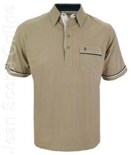 New Mens Farah Polo Jersey Shirt Poly Cotton Beige Stone