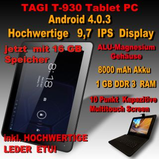 TAGI T 930 ANDROID 4 0 16 GB Tablet PC Pad KAPAZITIVE MULTITOUCH IPS