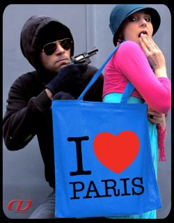 Retro Tasche I LOVE PARIS Stoffbeutel Tote France Eiffelturm Louvre