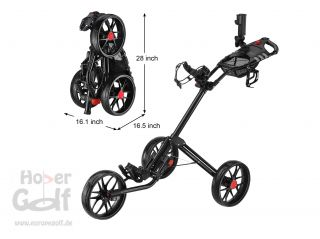 Caddytek 15.3 ALU Deluxe 3 Rad Golf Push Trolley leicht White Edition