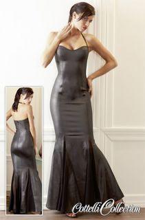 Kleid lang schwarz matt Neckholder edle Optik Godet Rockteil dress