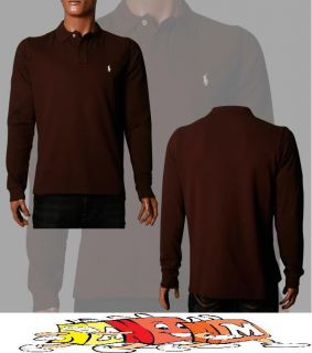 RALPH LAUREN Herren Polo Shirt langarm braun Grösse S M L XL XXL 3XL