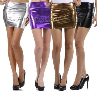 Sexy Metallic Liquid Metal Lame Shiny MINI SKIRT Club Wear Stripper
