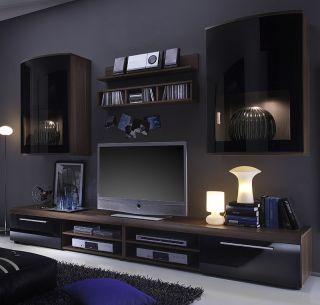 TOP* Design Wohnwand in Walnuss mit Glasfront schwarz Anbauwand