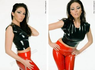 Latex Gummi Rubber Damen T Shirt bauchfrei Original Latexa geklebt XS
