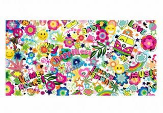 E229 Stickerbomb Flower Power Sticker Bomb Bombing 25 x 50 cm Peace