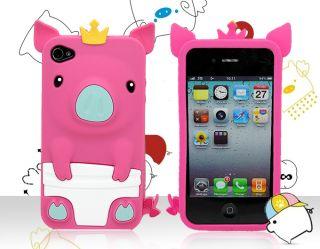 iPhone 4 4S 4G 3D Cute Pig Piggy Crown Soft Rubber Silicone Skin Case