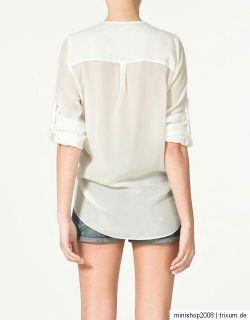 Top,Bluse,Longshirt,Long Shirt,Tunika, Hemd,Chiffon, Schwarz, Creme