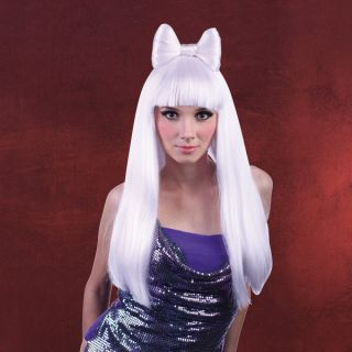 Lady Gaga Perücke lang mit Schleife, blond,. Haarnetz, Popstar, Ikone