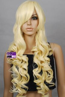Golden Blonde Heat Styleable Curly Long Cosplay Wigs 967_LGB