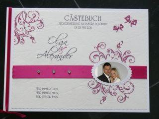 Gästebuch Hochzeit brombeer/creme Foto +Namen pink Deko
