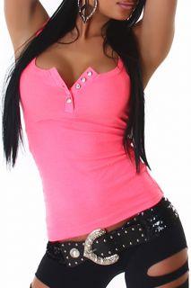 Sexy Damen Neon Top Tanktop Oberteil Shirt mit Steinchen in 10 Farben