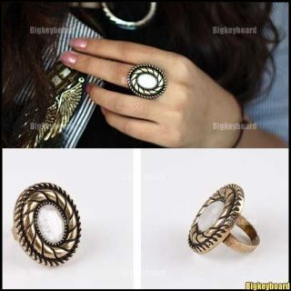 New Fashion Bronze Oval Crystal Rhinesonte Adjustable Ring