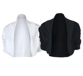 Bolero Jacke Damen Übergröße Kurz Gerafft Schwarz Weiß Größe 44