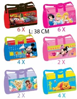 Disney Kinder Sporttasche 38cm MotivCars,Princess,Mickey,Minnie
