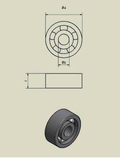 1x Rillenkugellager / Kugellager DIN 625   6304 2RS1 C3