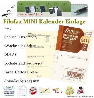 FILOFAX 2013 Kalender Einlage COTTON CREAM   Mini A8   Pocket A7