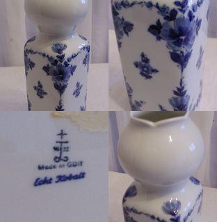 Alte Vase Stempel feines Porzellan Echt Kobalt Handbemalt