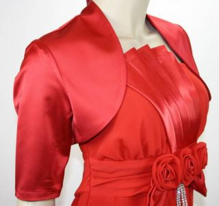 Damen Satin Bolero Halbarm Kurzarm Abendkleid Jacke Blazer Rot 36 S