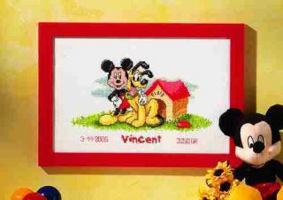 Geburtsbild Micky Maus und Pluto 70.987, gezählter Kreuzstich