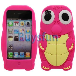Hot Pink Cute Large Eyes Turtle Silicone Cover Case For Apple iPhone 4