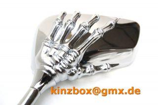 2x MOTORRAD SPIEGEL Chrom 998 8/10mm R ATV Quad Skelett HAND TOP